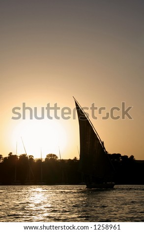 A felucca sailing at the Nile River during sunset time