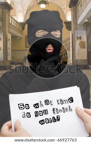 A Female Banker Reads An Love Note Handed To Her By A Smooth Criminal - stock photo