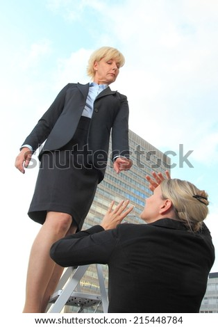 A Female Bos criticizes worker - stock photo