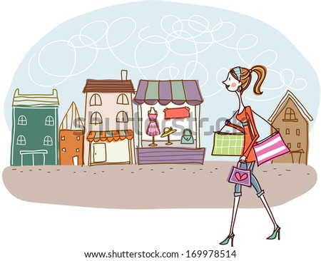 A female carrying shopping bags while walking down the street.