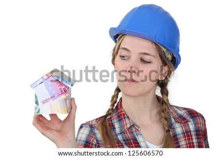A female construction worker - stock photo