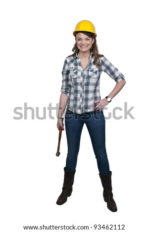A Female Construction Worker on a job site. - stock photo