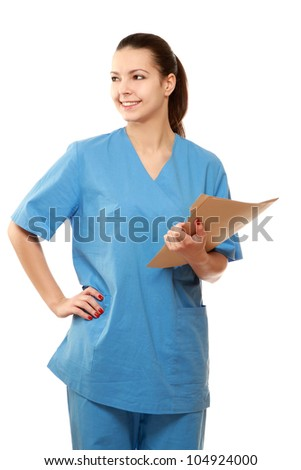 A female doctor with a folder isolated on white background