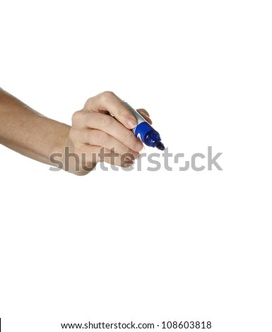 a female hand holding a blue pen towards the camera shot on a white studio background