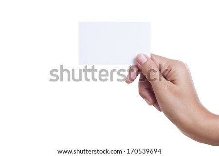 A female handing a blank business card, isolated on white background. with using path  - stock photo