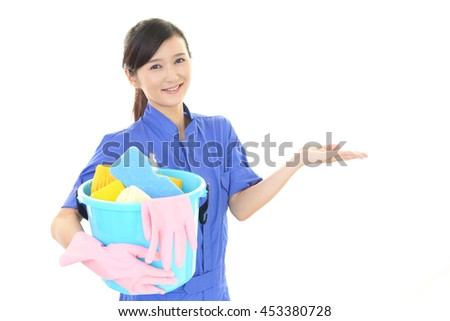 A female Janitorial cleaning service - stock photo