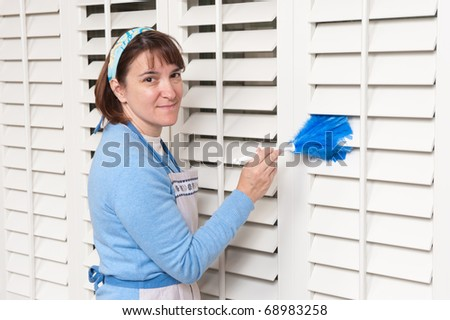 A female maid dusts window shutters with a feather duster - stock photo