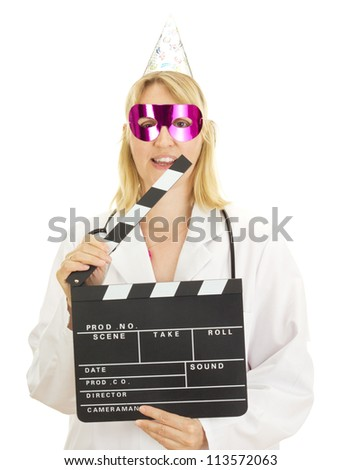 A female medical doctor with a clapperboard