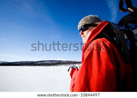 A female on a winter adventure trip in the mountains