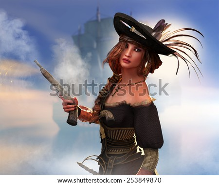 A female pirate with a blunderbuss that has just been fired. - stock photo