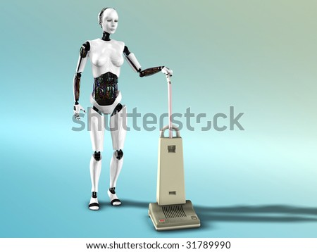 A female robot doing some vacuum cleaning.