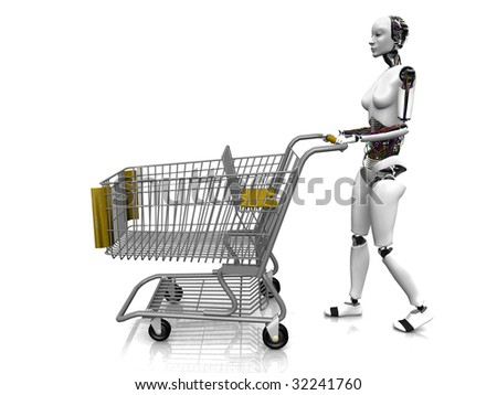 A female robot pushing a shopping cart on white background.