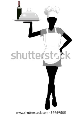 A female server in an apron and chef hat serves a serving tray with food and wine. - stock photo
