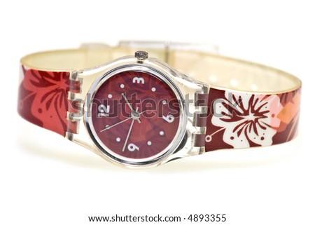 A female stylish wristlet watch isolated on white background. - stock photo