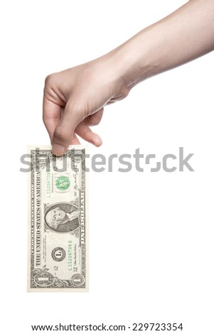 A female(woman) hand hold a money(u.s. one dollar) isolated white at the studio.