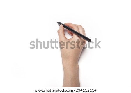 A female(woman) hands hold a black pencil isolated white, top view at the studio.