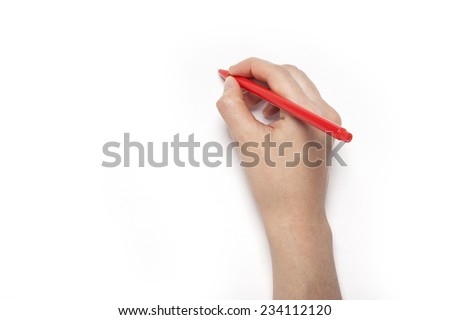 A female(woman) hands hold a red pencil isolated white, top view at the studio. - stock photo