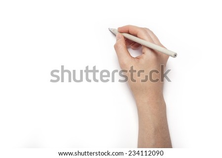 A female(woman) hands hold a white pencil isolated white, top view at the studio.