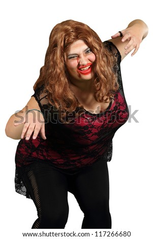 A female zombie with red hair on white - stock photo