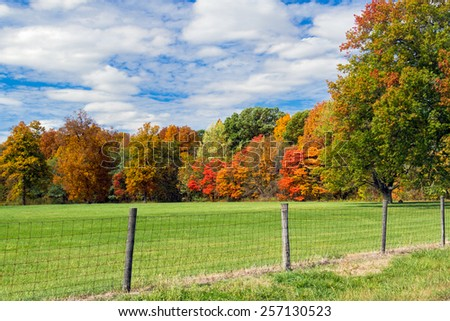 A fenced pasture is backed by woods sporting beautiful fall foliage colors.