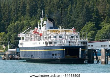 A ferry docked in Juneau, Alaska. - stock photo