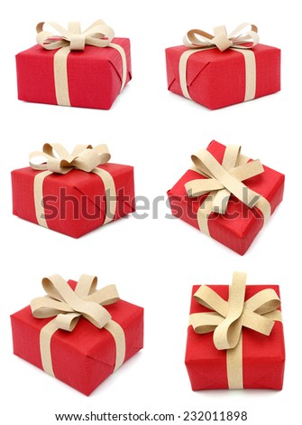 A festive gift box shopping isolated on white  - stock photo