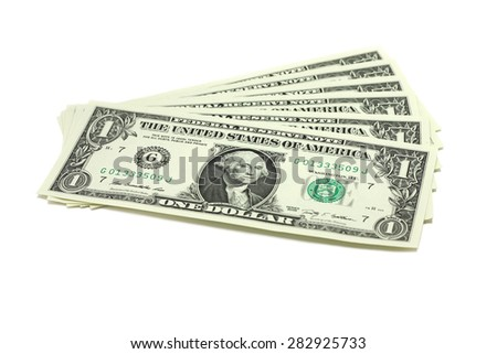 a few bills into one US dollar on a white background