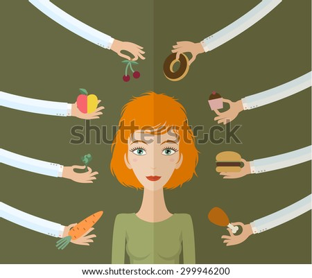 A few hands offers women a healthy and junk food. Flat style - stock photo