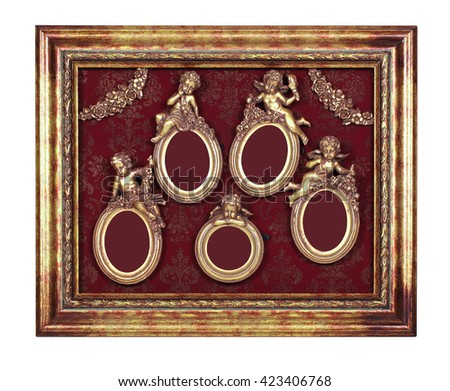A few oval baroque frames with cupid inside rectangular old picture frame. - stock photo