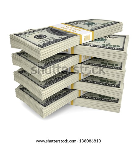 A few packs of dollar bills. Isolated render on a white background - stock photo