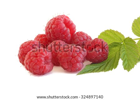 A few raspberries with a sprig isolated on white background