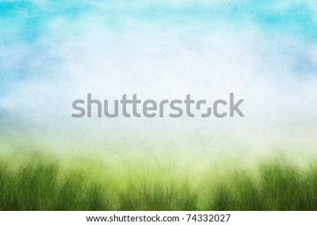 A field of fresh grass in spring with soft grain and grunge mottling from a textured paper background. - stock photo