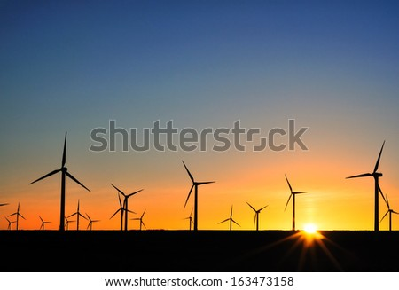 A field of wind turbines at sunset - stock photo