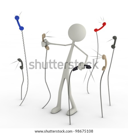 a figure has a fight with telephone earphones - stock photo