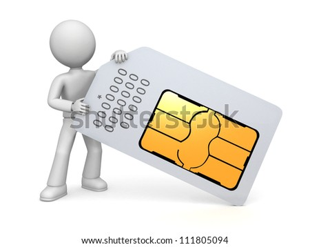 A figure holding a mini-SIM  card, used in mobile phones to identify the service subscriber. - stock photo