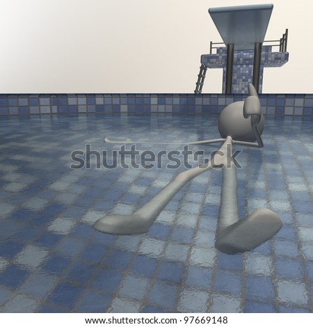 a figure is chilling in the schwimming pool - stock photo
