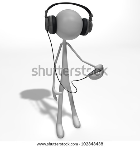 a figure is listening to the music with headphones - stock photo