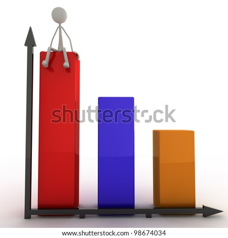 a figure is sitting on a bar of the diagram - stock photo