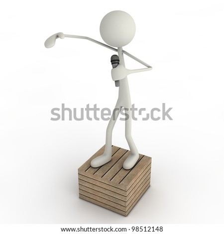 a figure kicking some freestyles on a wooden box - stock photo