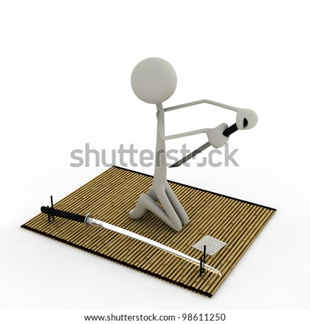 a figure on the verge of doing the Seppuku - stock photo