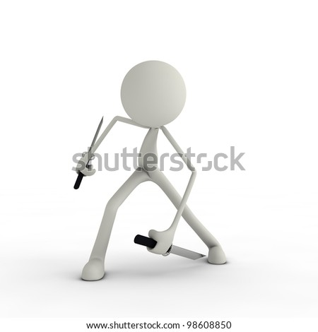 a figure posing with its knife ninja style - stock photo