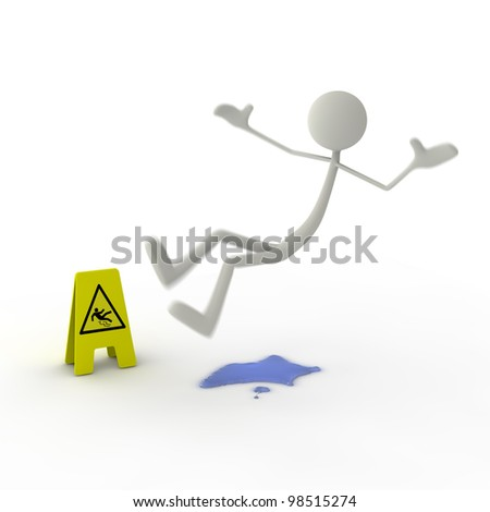 a figure slipping on a puddle - yellow danger sign - stock photo