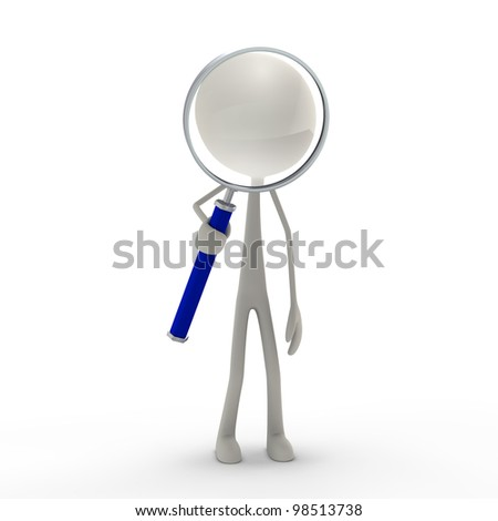 a figure standing with magnifying lens - blue - stock photo