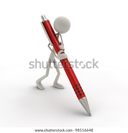 a figure with a big ball-pen - red - stock photo