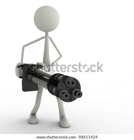 a figure with a minigun in action - stock photo