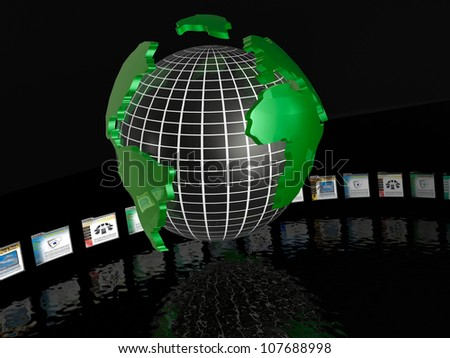 A file of web pages and globe on reflective background. - stock photo