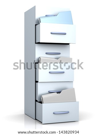 A filing cabinet with folders. 3d illustration. - stock photo
