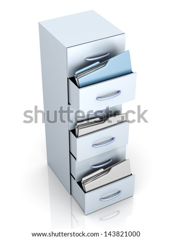 A filing cabinet with folders. 3d illustration.