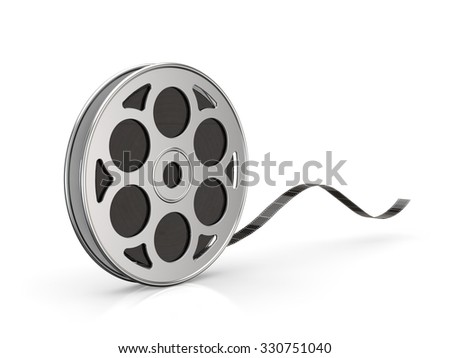 a film movie 35mm reel isolated white background with clipping path - stock photo