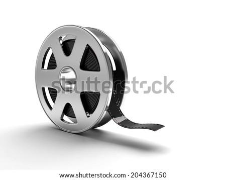 A film reel isolated on white background - stock photo